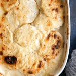Overhead image of baked scalloped potatoes.