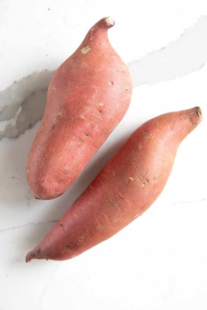 Two sweet potatoes.