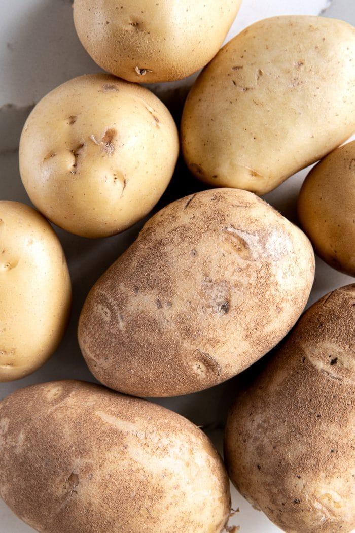 Russet potatoes and yukon gold potatoes