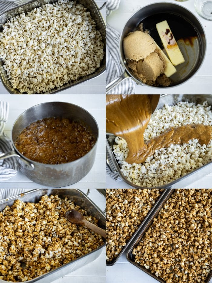 Collage of step-by-step images showing how to make homemade gingerbread caramel corn.
