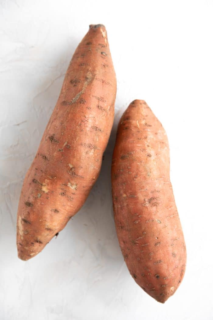 Two large sweet potatoes.
