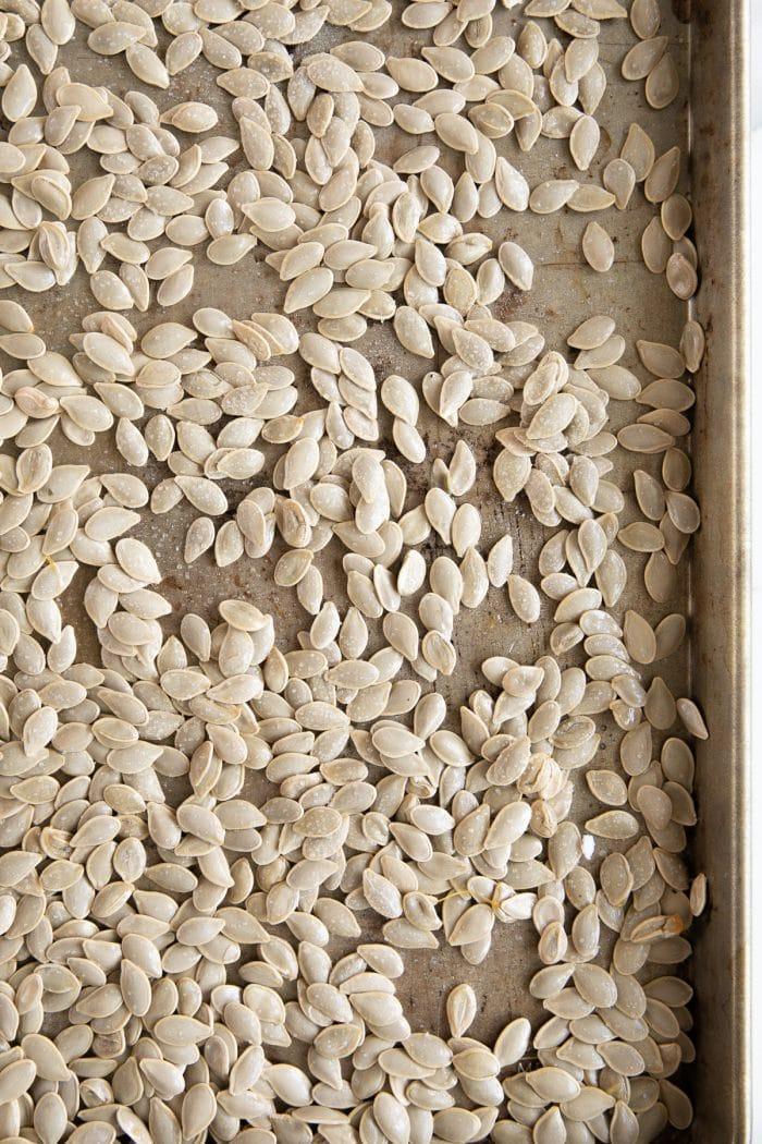Pumpkin seeds before baking.