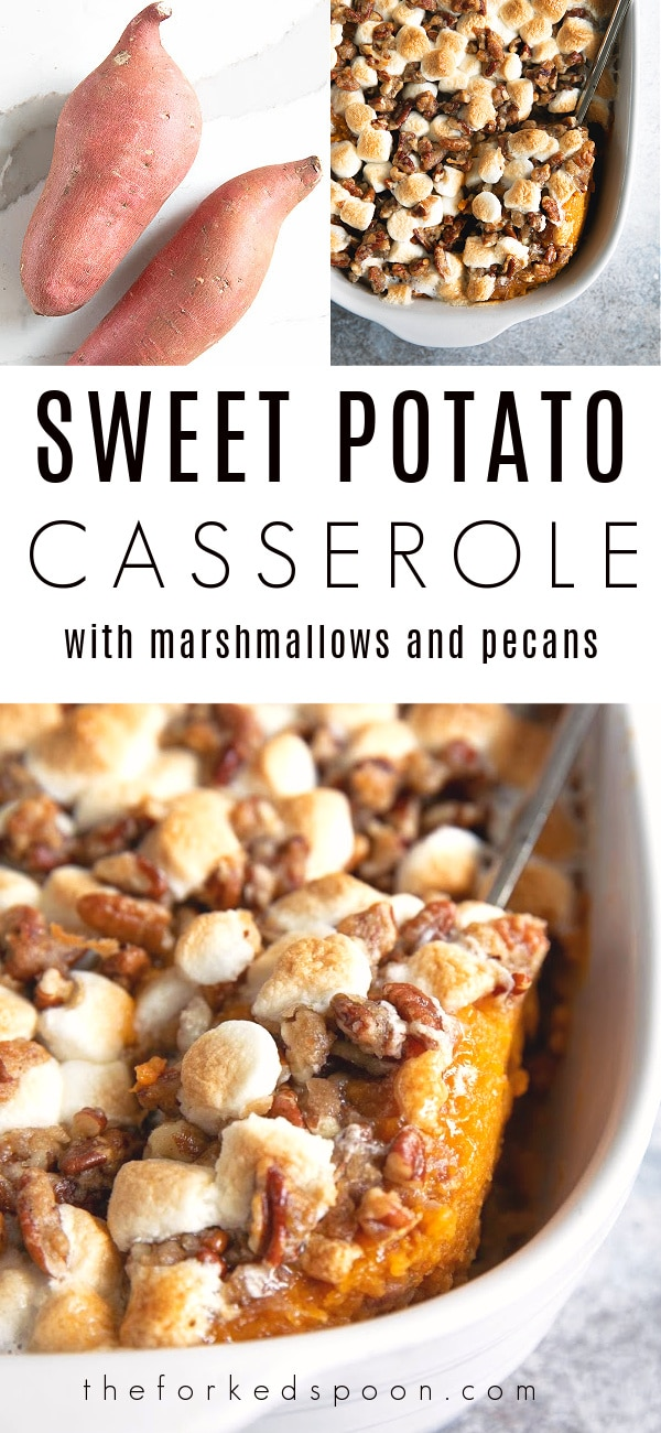 Traditional Sweet Potato Casserole Recipe (with Marshmallows) Pinterest Pin Image Collage