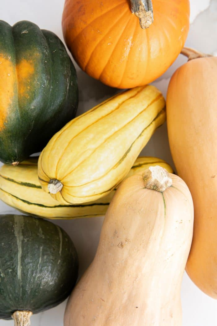 FIve types of winter squash: pumpkin, butternut, kabocha, delicata, and acorn