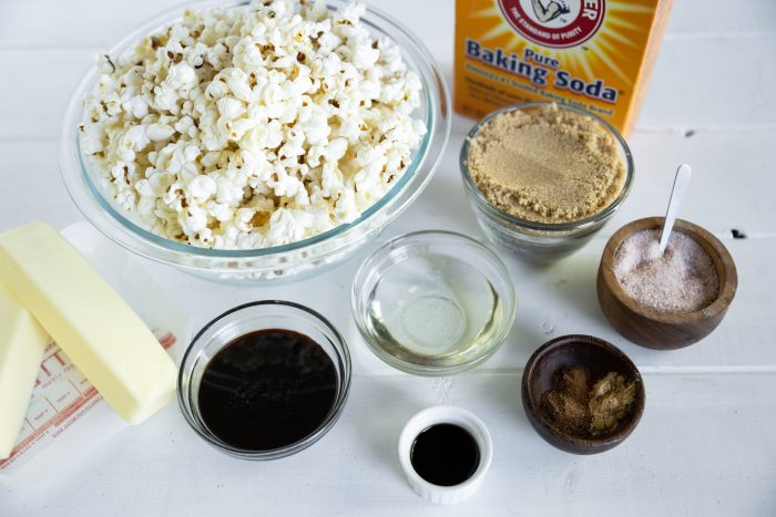 Ingredients needed to make homemade gingerbread caramel corn.