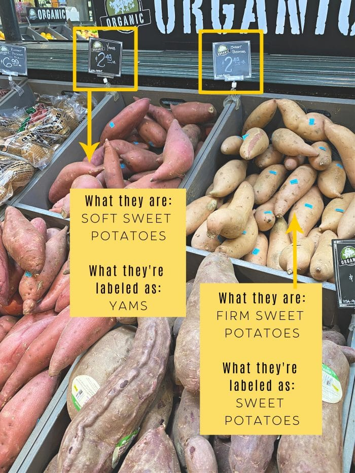 sweet potatoes vs yams in the grocery store