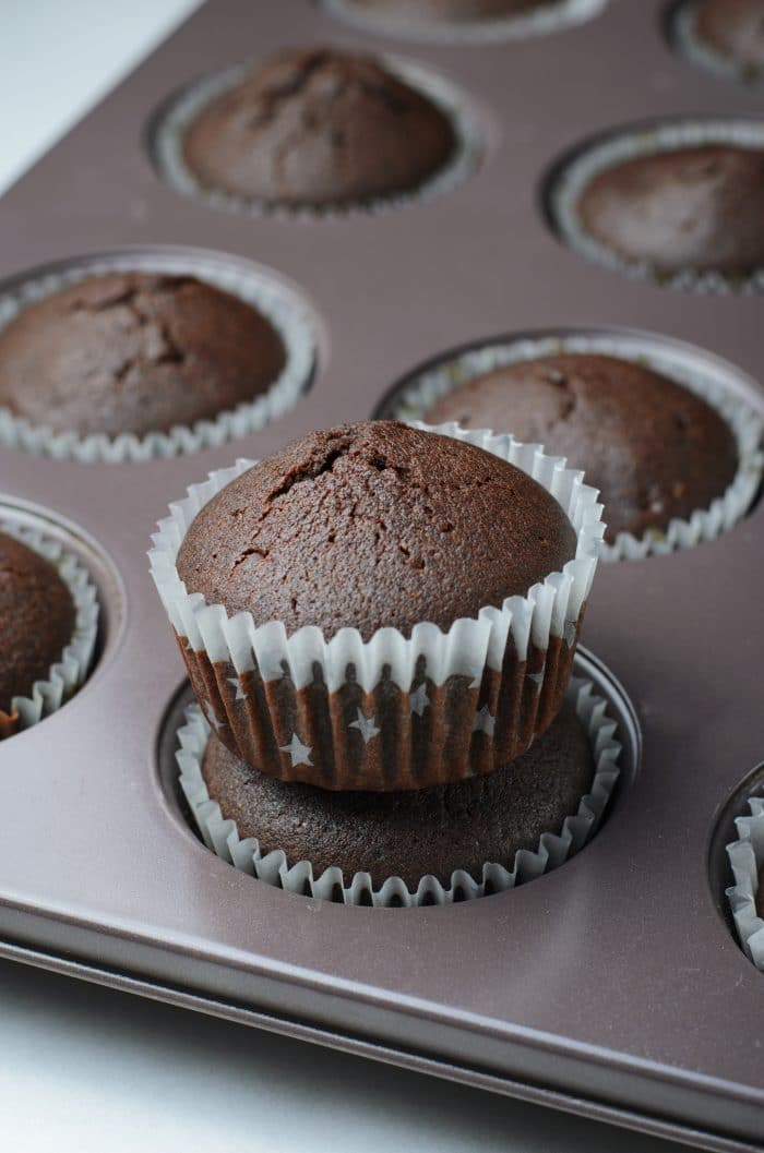 Fresh baked chocolate cupcakes