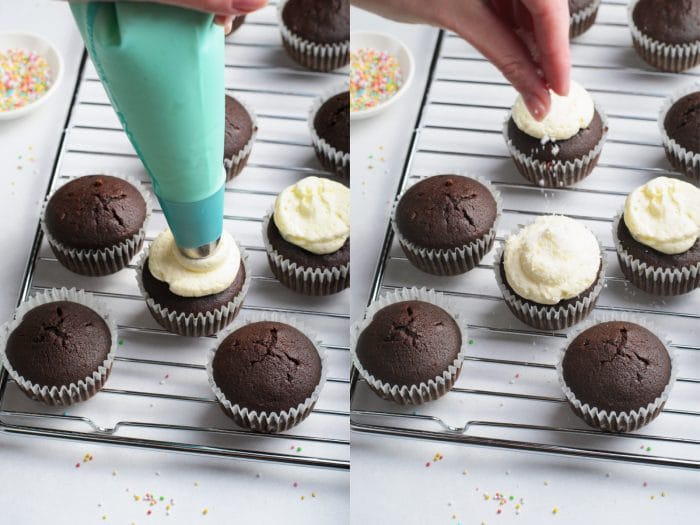 Frosting chocolate cupcakes with vanilla buttercream frosting.