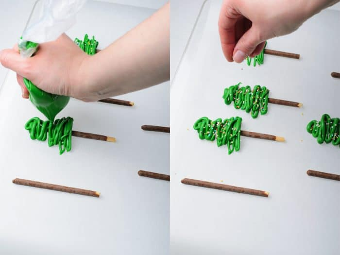 preparing chocolate christmas trees
