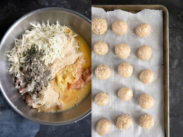 preparing meatballs for french onion skillet