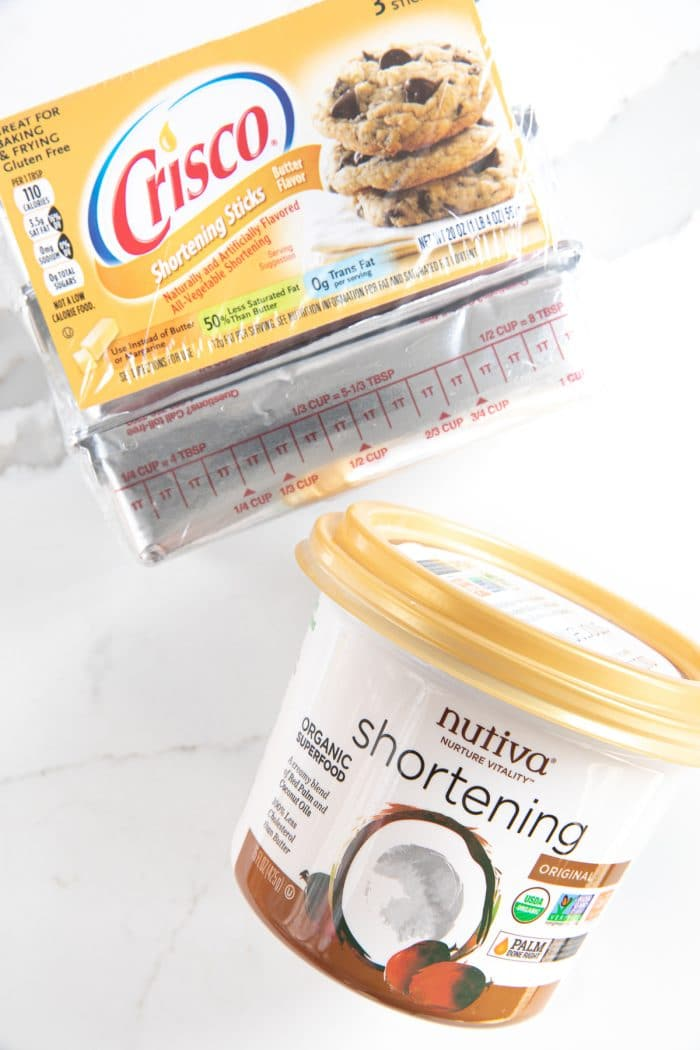 Two different brands of shortening- Nutiva and Crisco