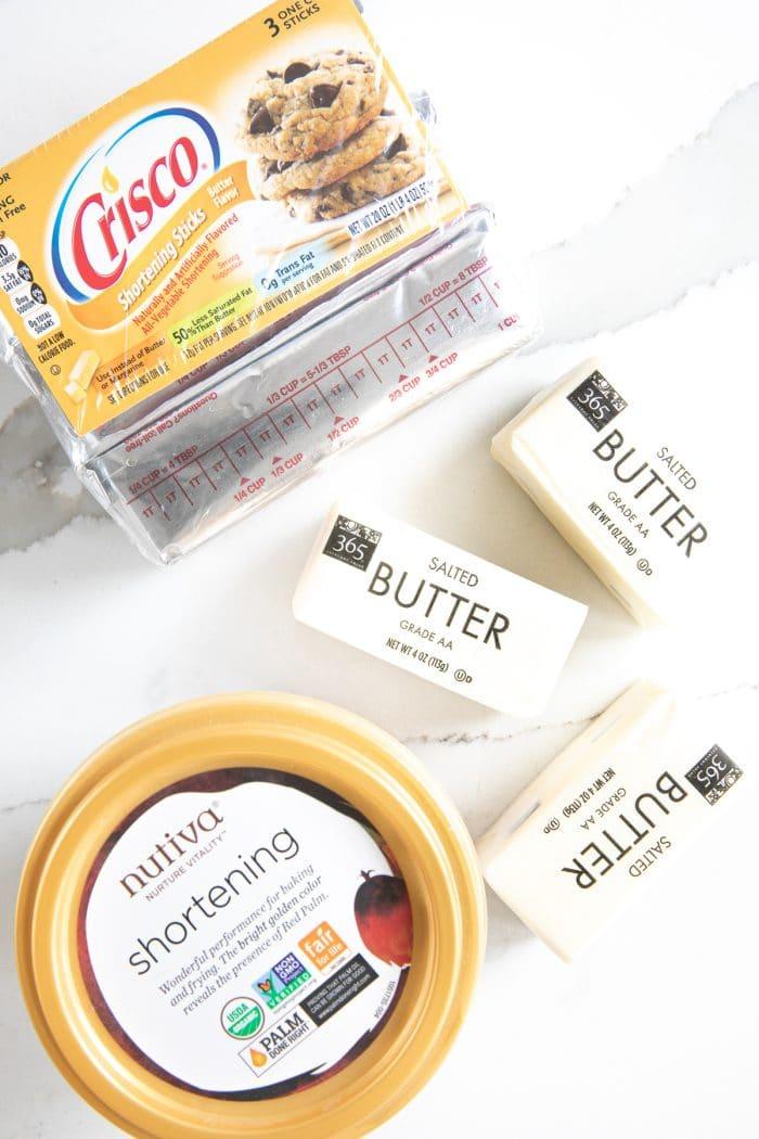 Three sticks of butter, one tub of Nutiva shortening, and sticks of Crisco shortening.