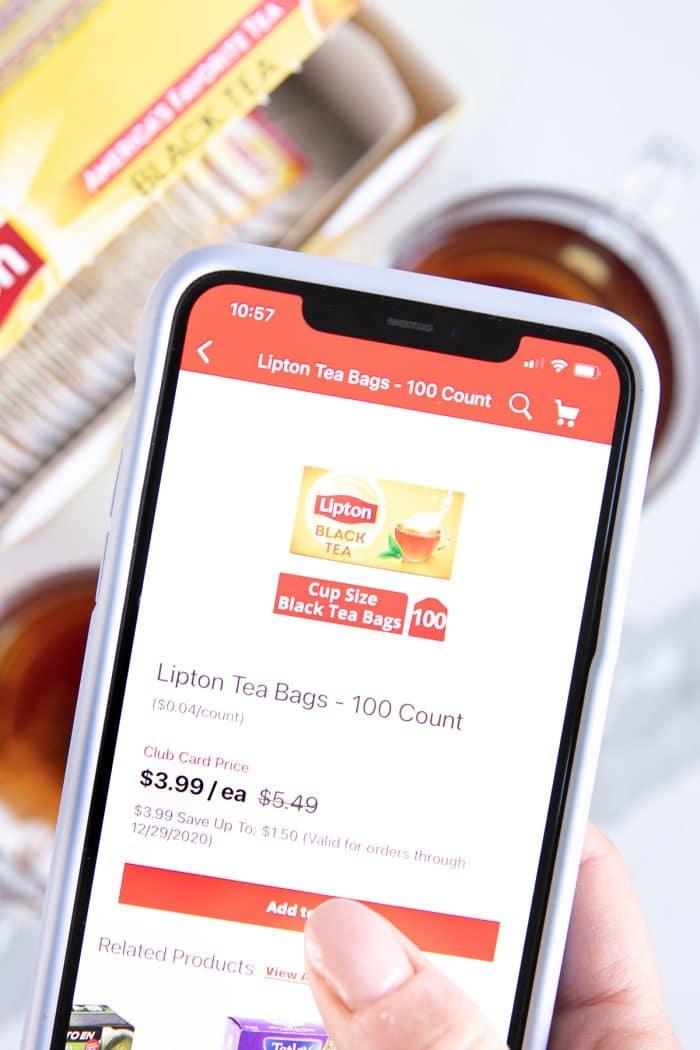 Safeway app on phone purchasing Lipton tea