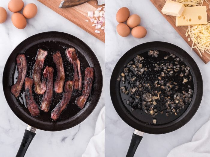 cooking bacon and shallots in a large skillet.