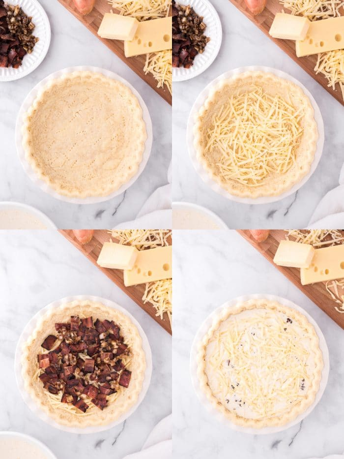 Step-by-step making quiche lorraine
