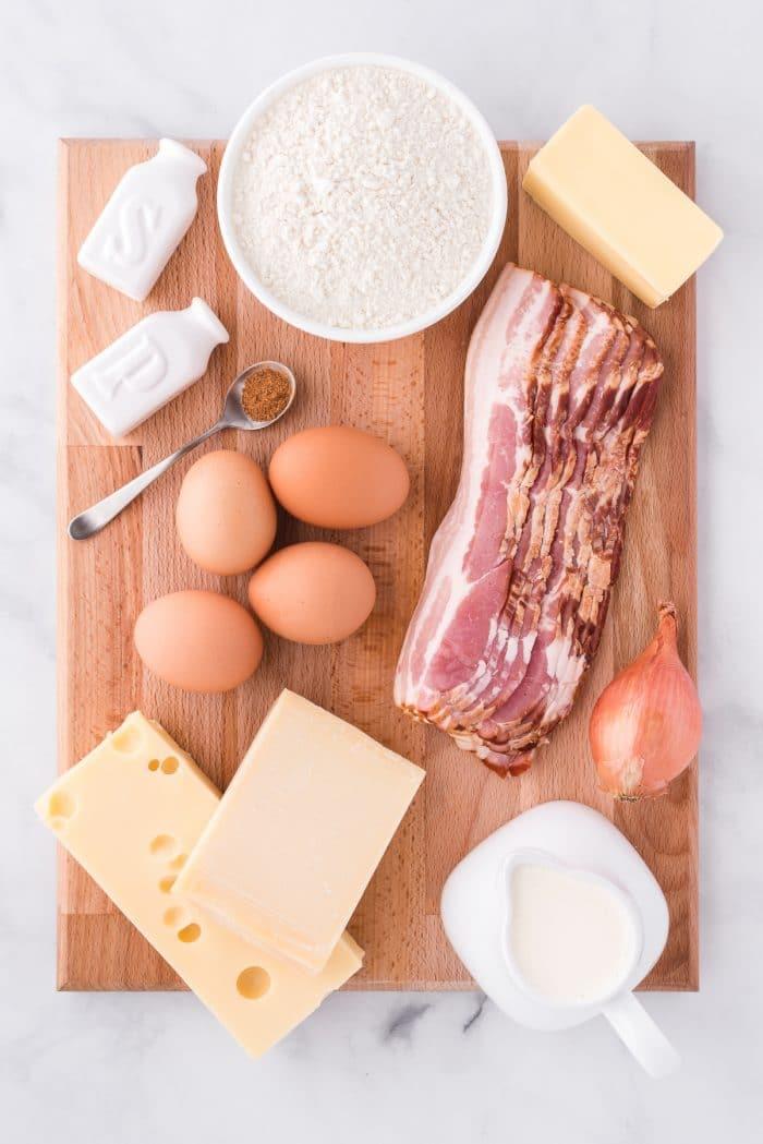 Ingredients needed to make quiche lorraine