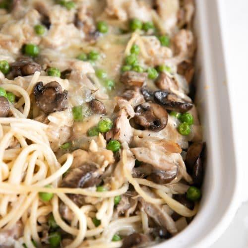 Turkey Tetrazzini Recipe in a white casserole pan