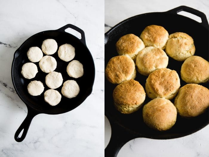 biscuits in a cast iron skillet step-by-step