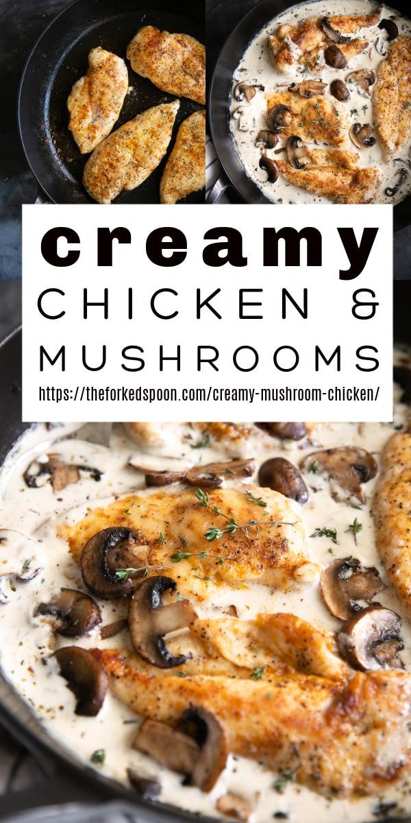 Creamy Mushroom Chicken Recipe Pinterest Pin Collage Image