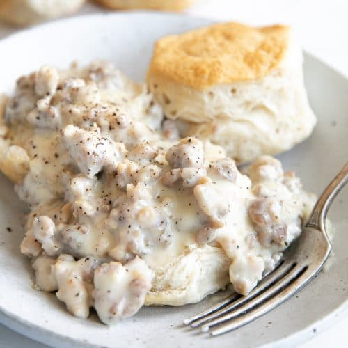 Buttery biscuit topped with sausage gravy.