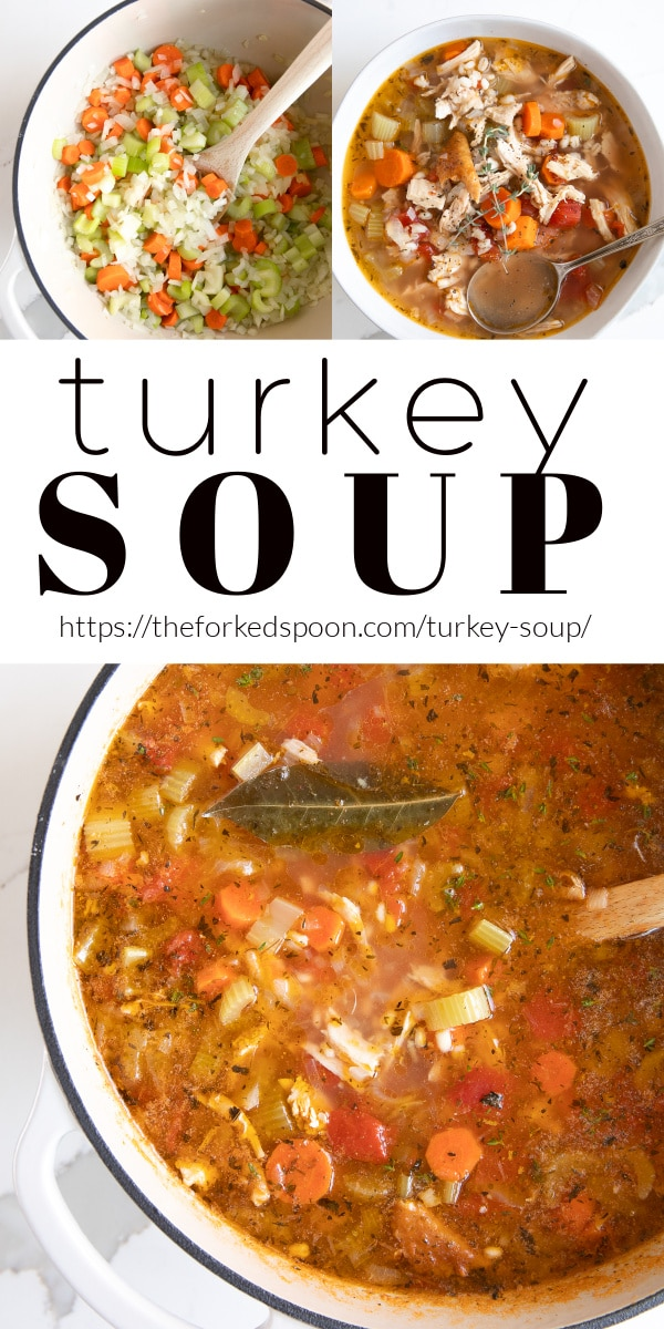 turkey soup Recipe Pinterest Pin Collage Image