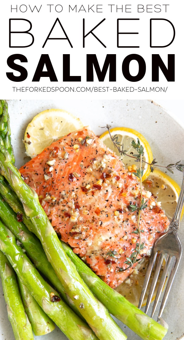BEST Baked Salmon with Lemon Butter Pinterest Pin Collage Image
