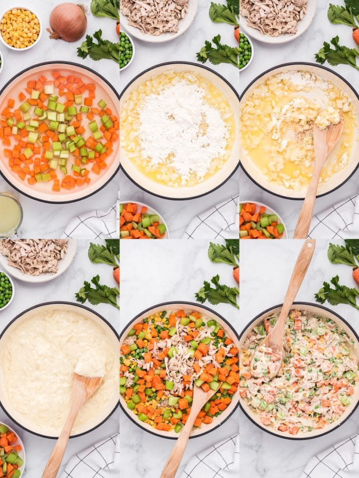 Six images in a collage showing the individual steps of preparing the filling for homemade chicken pot pie.