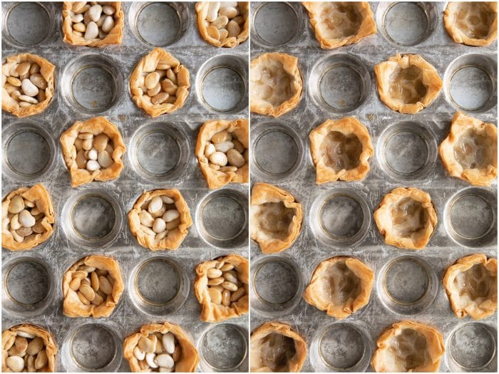 Collage of two images, the first image showing backed phyllo cups with beans still in their centers and the other image with the beans removed.