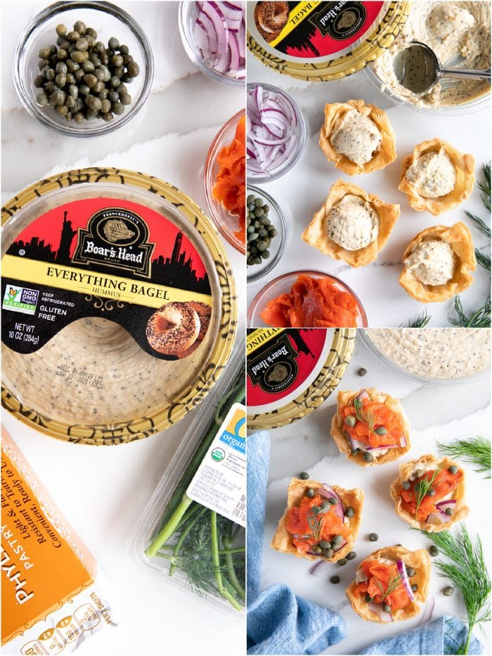 Collage of three images showing the ingredients and assembly of simple smoked salmon phyllo cups filled with Classic Boar's Head Everything Bagel Hummus and topped with red onions, cepers, smoked salmon, and chives.