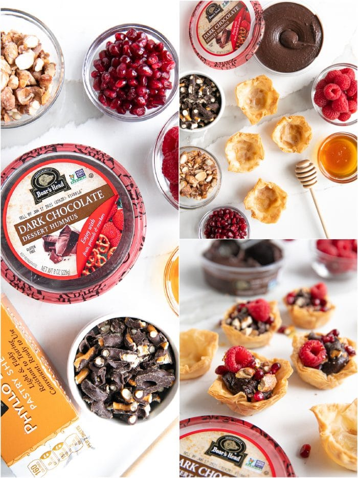 Collage of three images showing the ingredients and assembly of simple chocolate phyllo cups filled with Boar's Head Chocolate Hummus and topped with crushed chocolate covered pretzels, candied almonds, raspberries, pomegranates, and drizzled with honey.