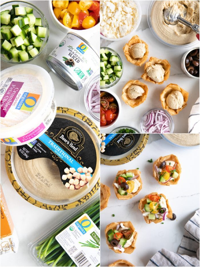 Collage of three images showing the ingredients and assembly of simple Mediterranean phyllo cups filled with Classic Boar's Head hummus and topped with olives, tomatoes, cucumber, feta cheese, and chives.