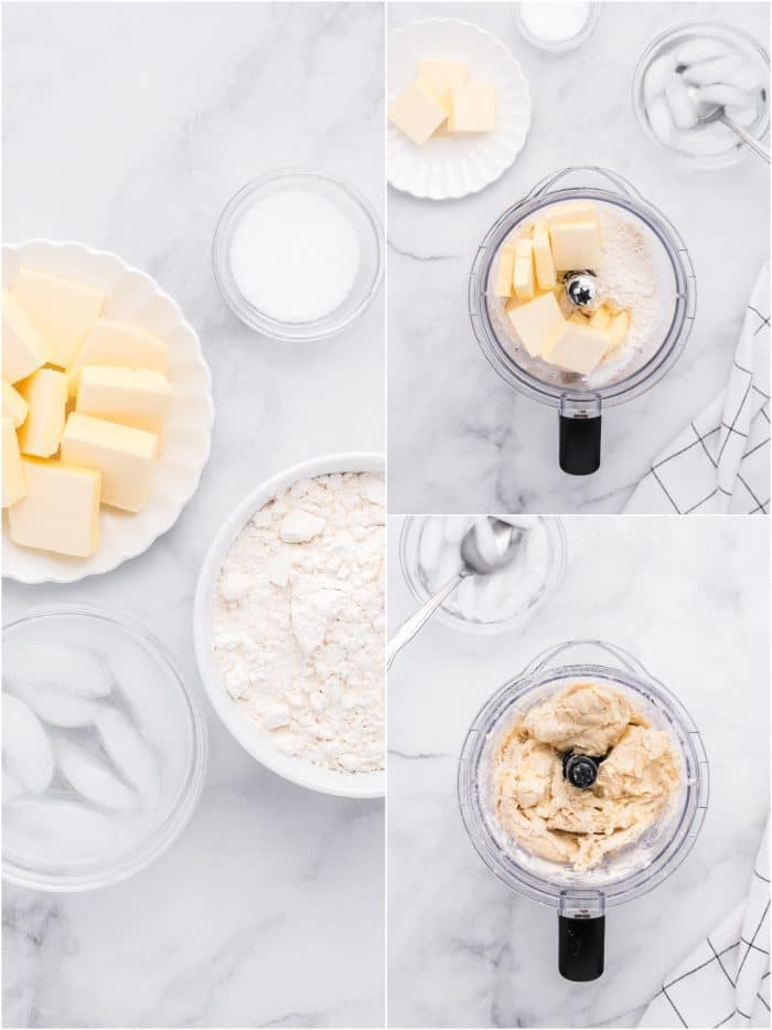 Collage of three images with one image showing ingredients needed to make homemade crust, the second image with butter and flour, and the third image of a food processor filled with processed dough.