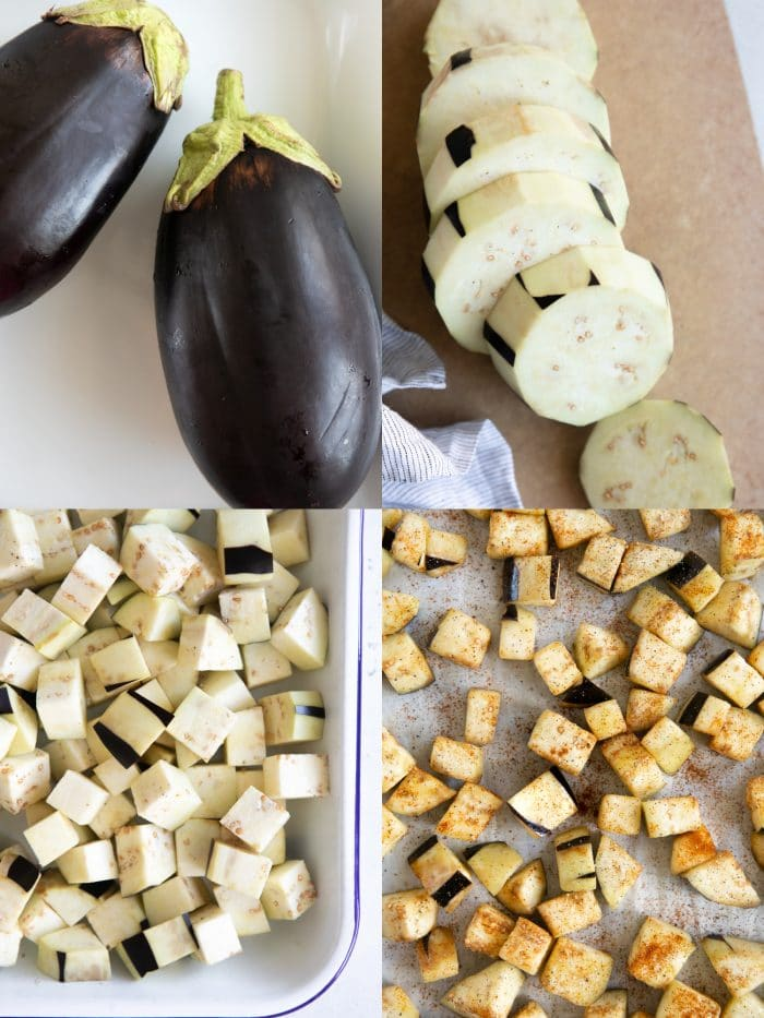 Collage of four images: the first shows 2 whole globe eggplants, the second shows the eggplants sliced into discs, the third shows the eggplant in a large with tray , and the last image shows the eggplant cubes spread over a large baking sheet and seasoned.