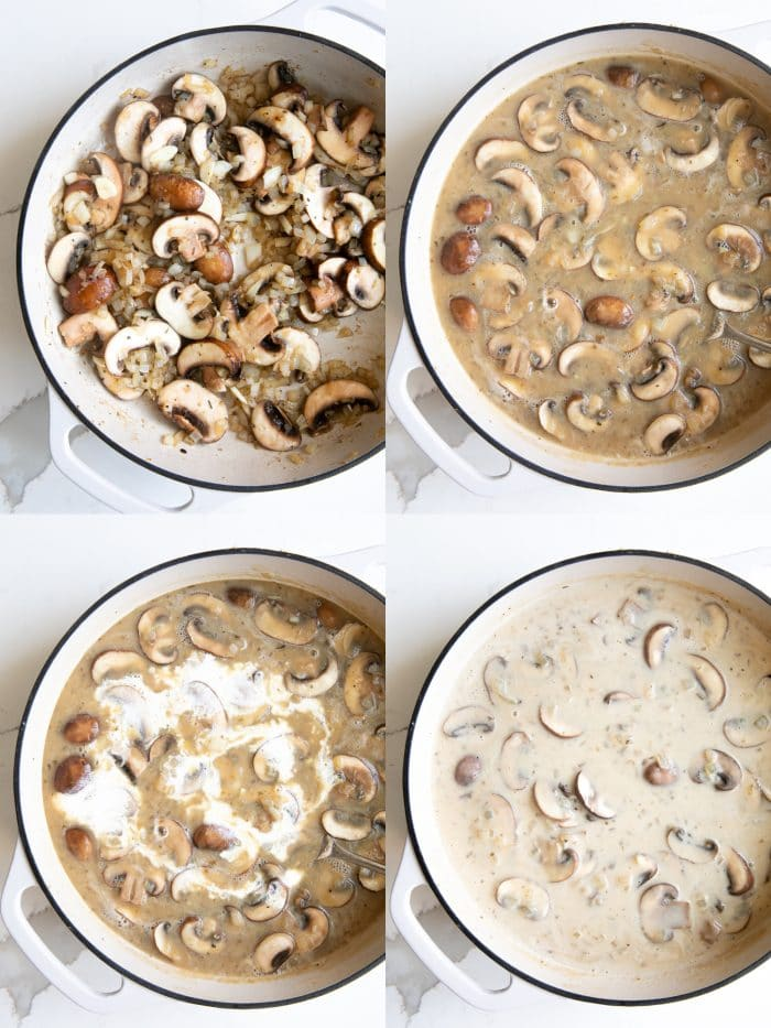 Collaged of 4 images showing the step to prepare the creamy mushroom sauce for smothered pork chops.