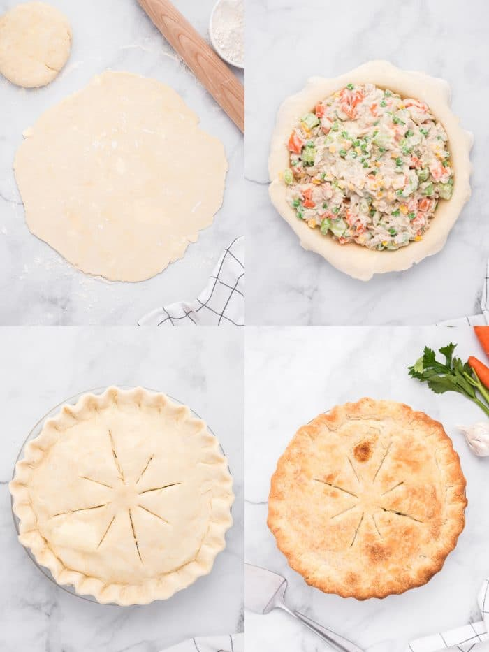 Collage of four images showing the assembly of a homemade chicken pot pie with homemade pie crust.
