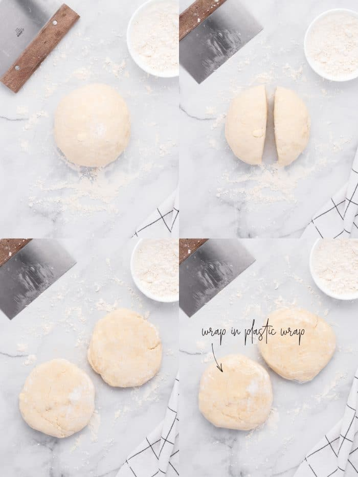 Four collaged images showing the steps of forming the dough for homemade pie crust, dividing in half, flattening slightly, and wrapping in plastic wrap.