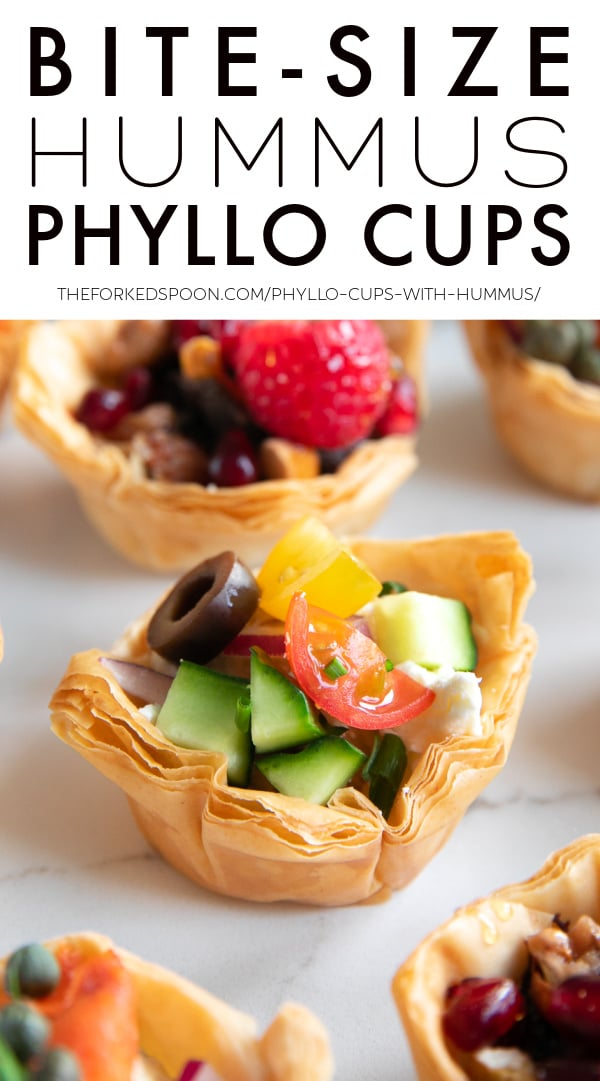 Homemade Phyllo Cups with Hummus Pinterest Pin Image Collage