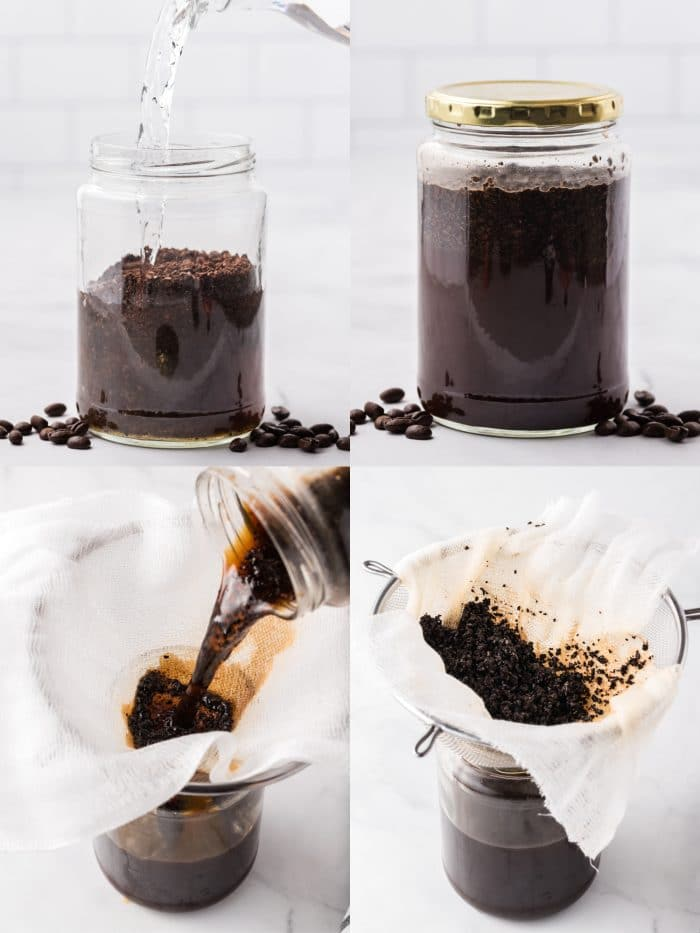 A four image collage showing how to make cold brew coffee.
