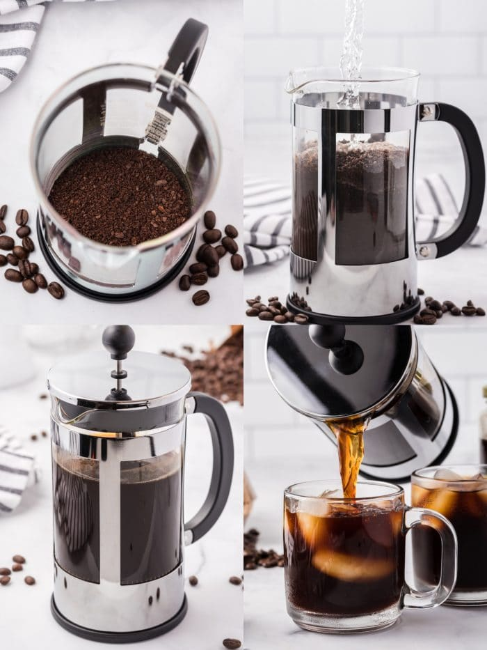 A four image collage showing how to make cold brew coffee using a french press.