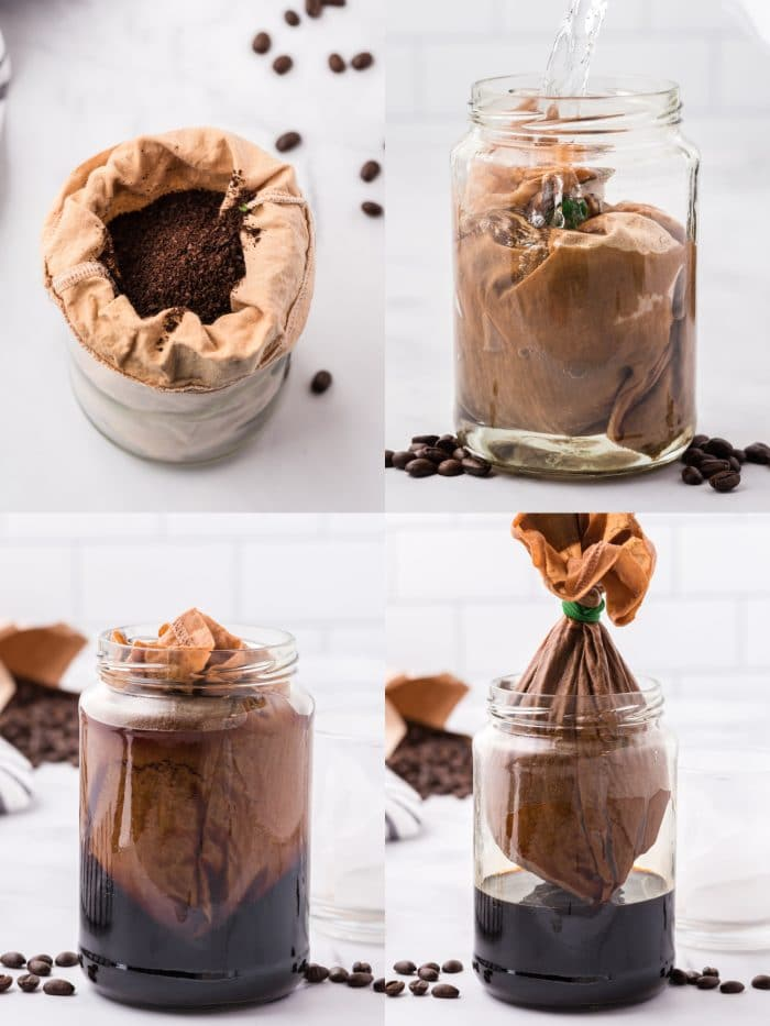 A four image collage showing how to make cold brew coffee using coffee grounds, a milk sac or cheese cloth, and a jar.