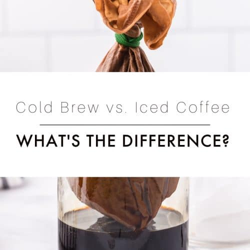 Image of cold brew coffee straining into a large glass jar with text overlay.