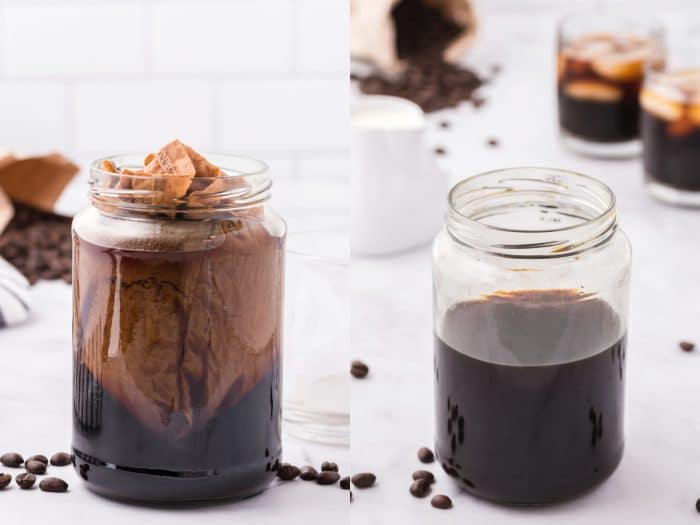Collaged image of Image of a large glass jar filled with a filter and coffee grounds and cold water.