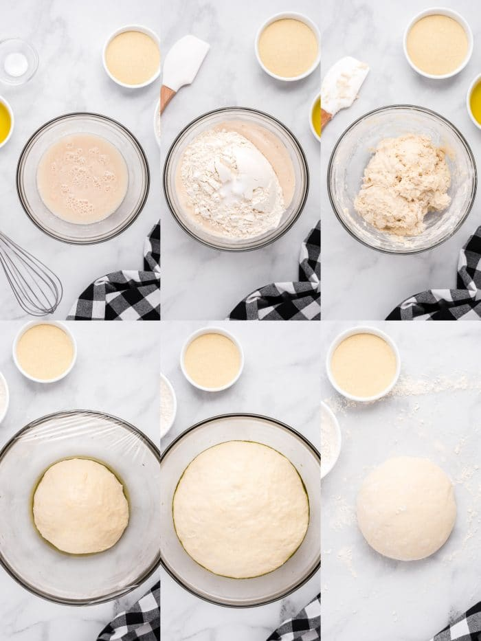 Collage of 6 images showing how to make homemade pizza dough step-by step.