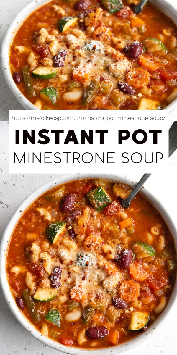Instant Pot Minestrone Soup Recipe Pinterest Pin Collage Image
