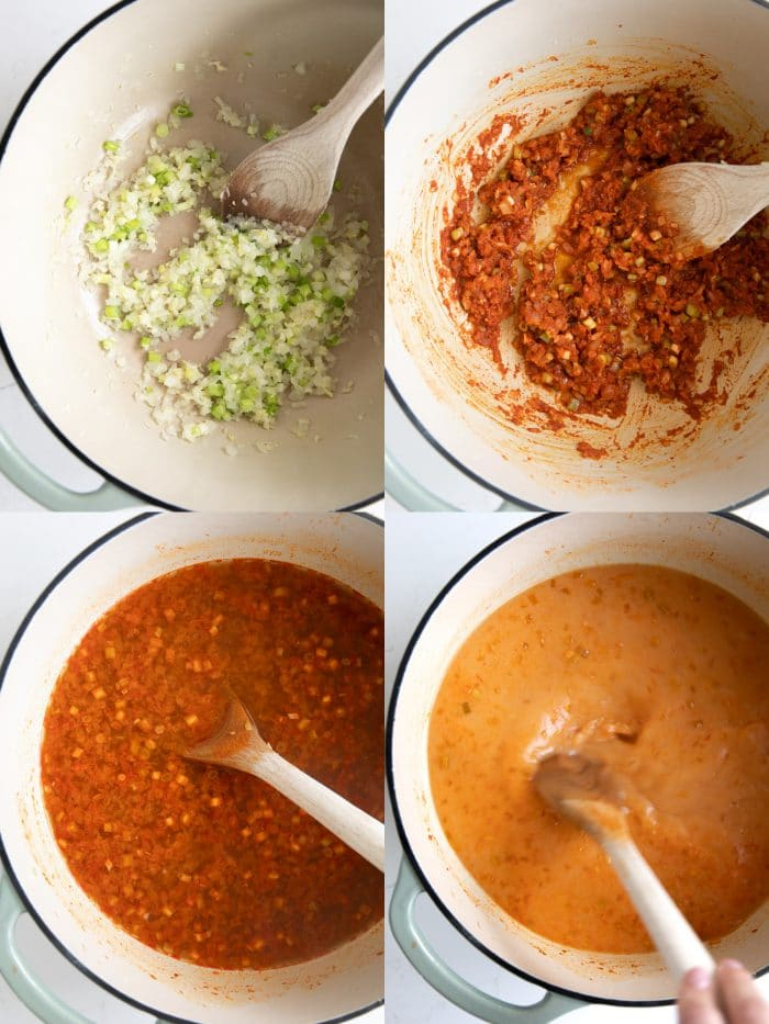 Collaged image of four images showing the beginning steps on how to make the broth for chicken curry noodle soup with coconut milk.