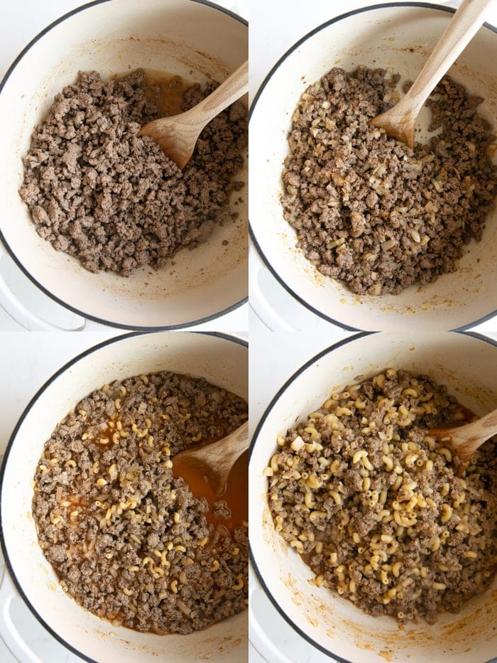 Collage of four images showing how to make easy homemade one-pot hamburger helper.
