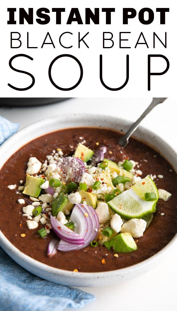 Instant Pot Black Bean Soup pinterest pin collage image