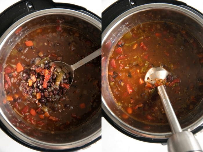 Two images side-by-side showing cooked Instant Pot black bean soup in a large Instant Pot.