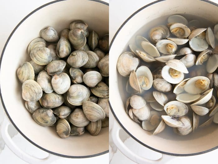Collage of two images, the first image shows a large pot filled with unopened clams and the second image shows the same pot filled with clams that have been steamed and opened.