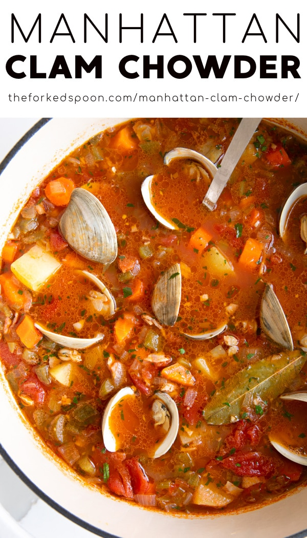 Manhattan Clam Chowder Recipe pinterest pin collage image